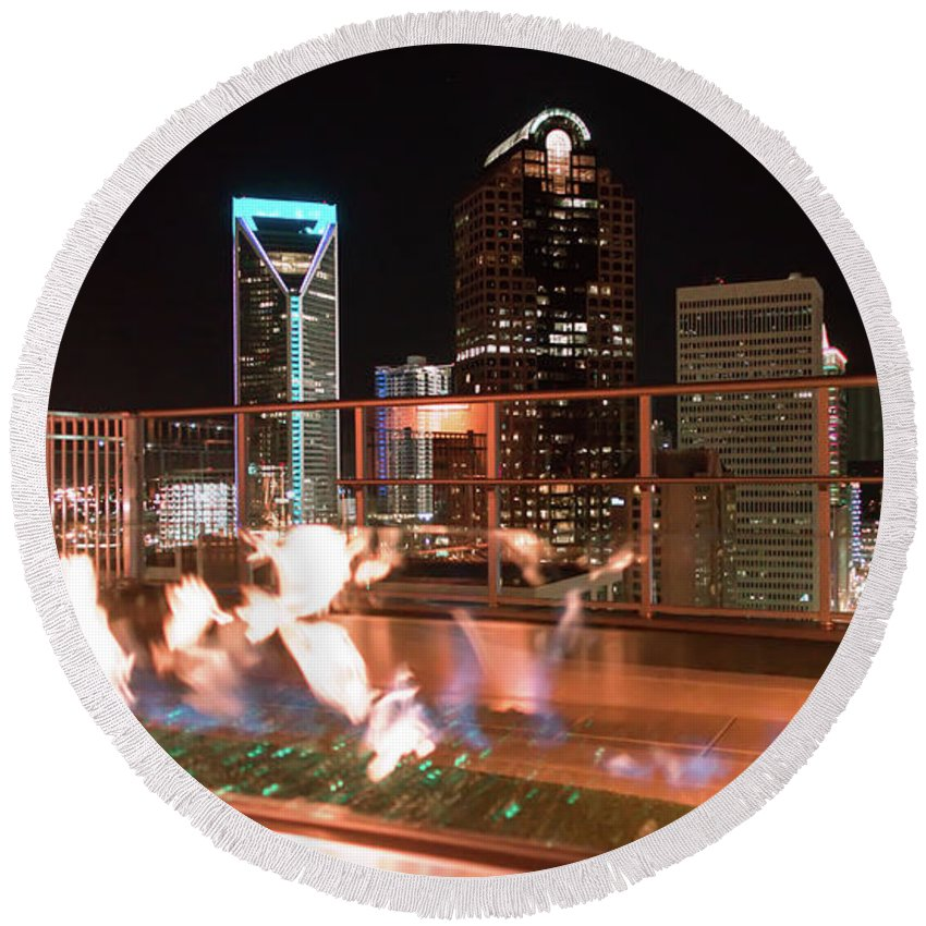 View Round Beach Towel featuring the photograph Charlotte North Carolina Skyline View At Night From Roof Top Res by Alex Grichenko
