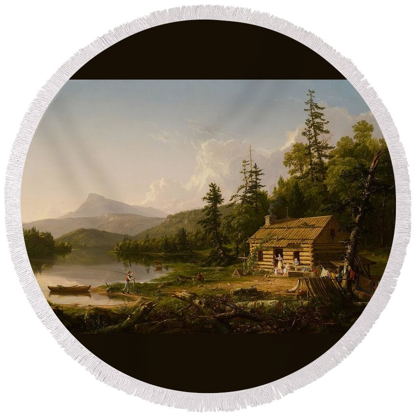 Home In The Woods Round Beach Towel featuring the painting Home In The Woods by Thomas Cole