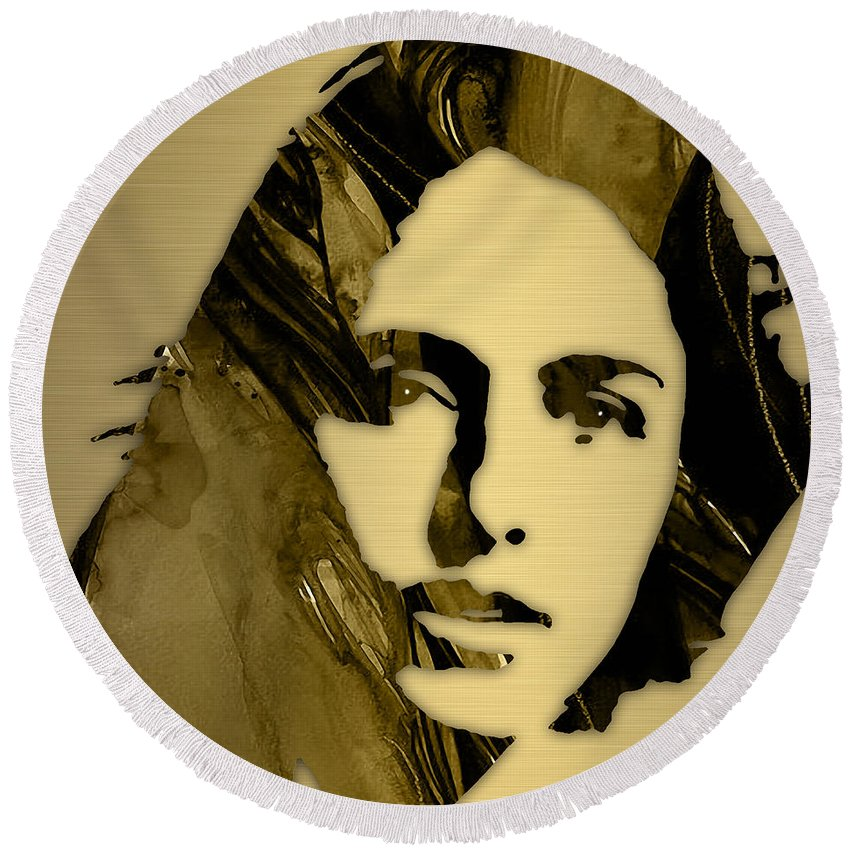 Joan Baez Round Beach Towel featuring the mixed media Joan Baez Collection by Marvin Blaine