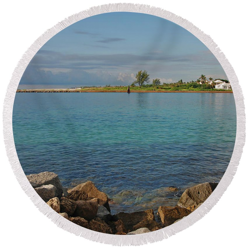 Lake Worth Inlet Round Beach Towel featuring the photograph 10- Lake Worth Inlet by Joseph Keane