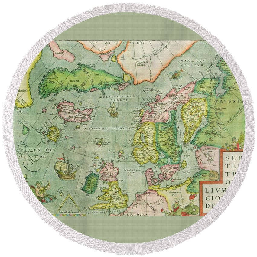 Old Round Beach Towel featuring the photograph Old Map by FL collection