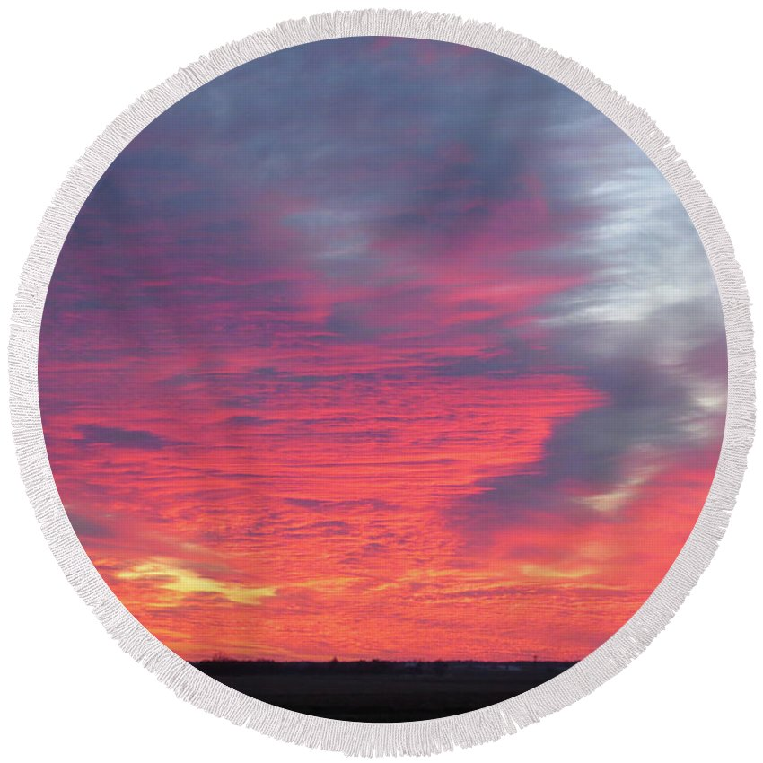 Sunset Round Beach Towel featuring the photograph Sunset by Phil Cooling