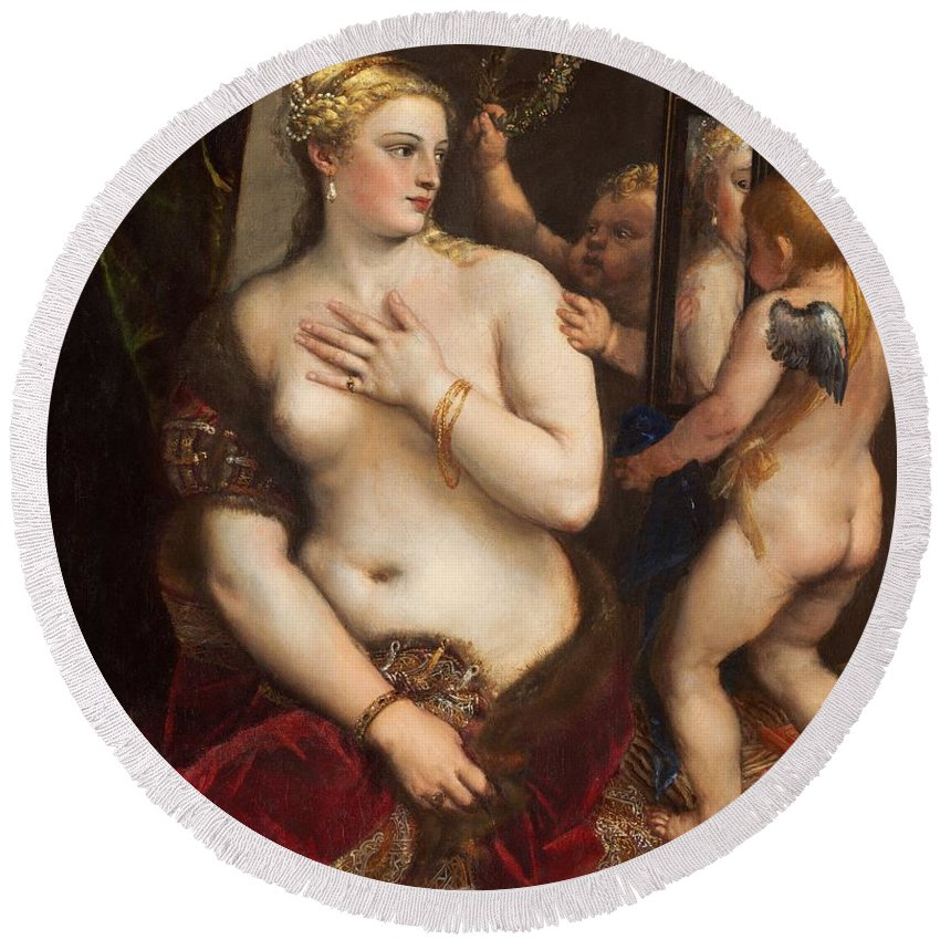 Angel Round Beach Towel featuring the painting Venus With A Mirror by Titian