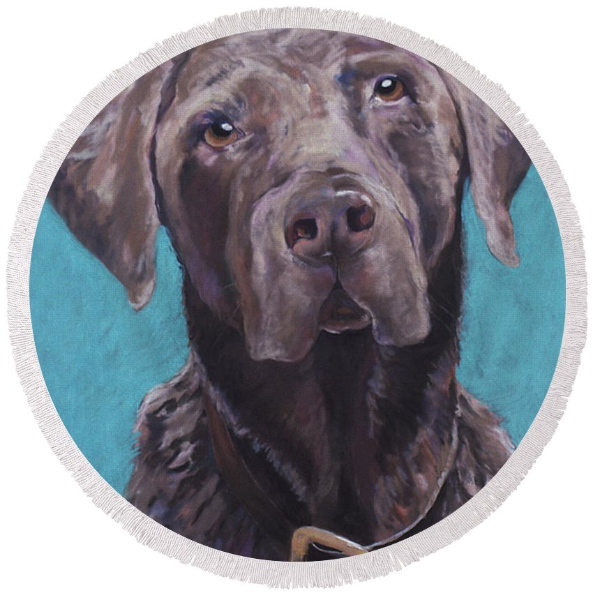 Pet Portrait Commissions Round Beach Towel featuring the pastel 100 Lbs. Of Chocolate Love by Pat Saunders-White