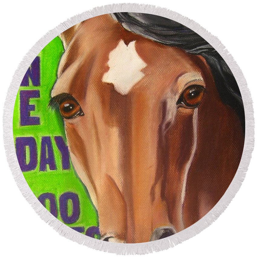 Painting Of A Horse Round Beach Towel featuring the painting 100 Mile Horse by Michelle Hayden-Marsan