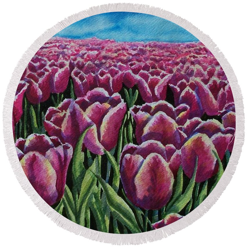 Tulips Round Beach Towel featuring the painting 1000 Tulpis by Conni Reinecke