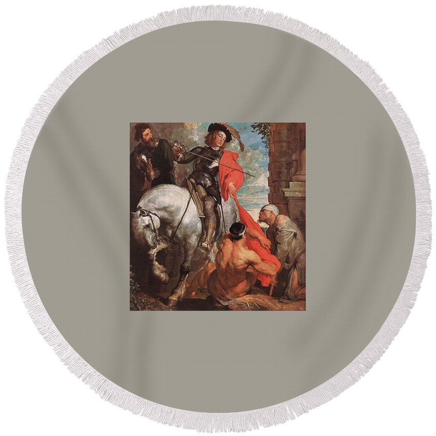 Cadaver Round Beach Towel featuring the digital art 10298 Anthony Van Dyck by Eloisa Mannion
