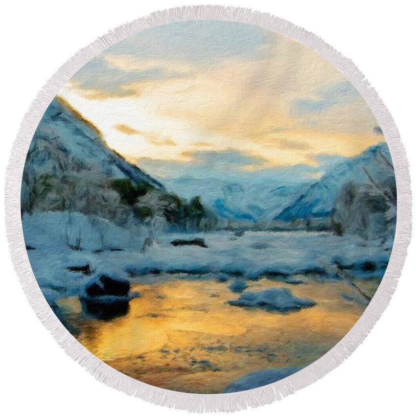 Landscape Round Beach Towel featuring the painting Nature Landscapes Prints by World Map