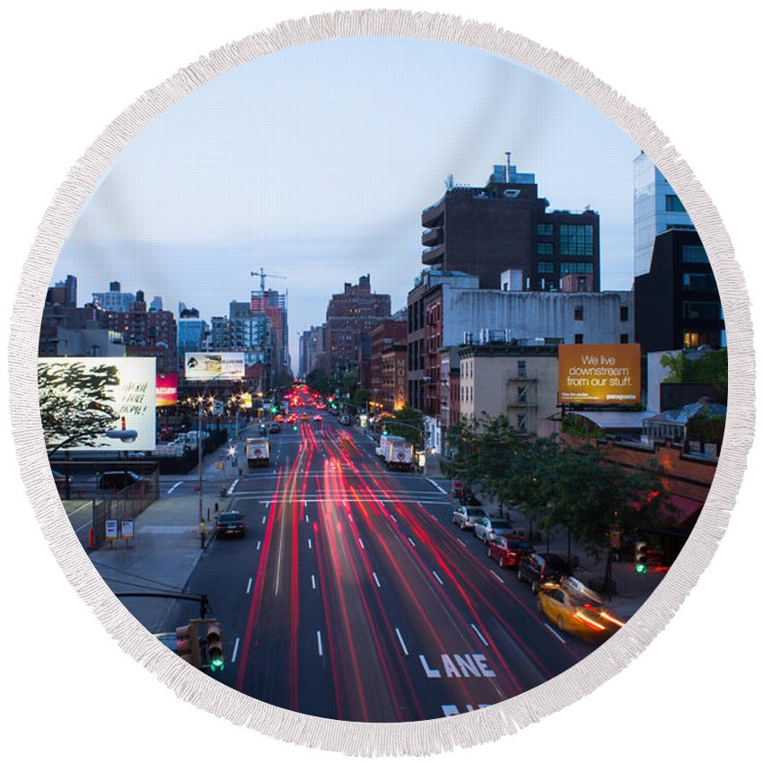 Nyc Round Beach Towel featuring the photograph 10th Avenue Lights by Robert J Caputo