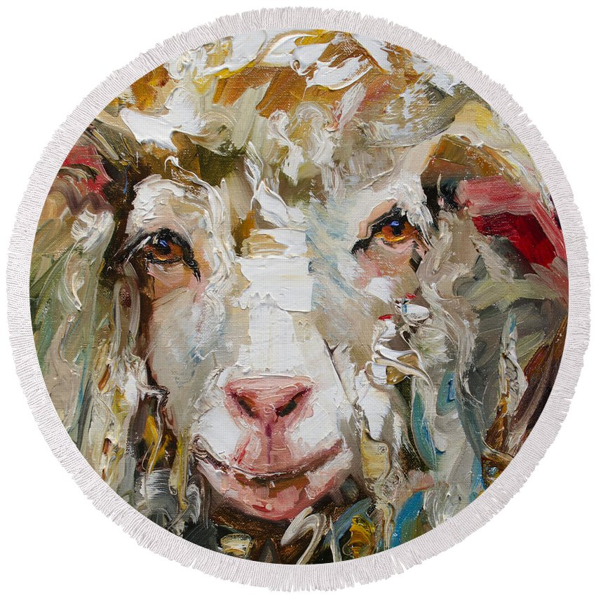 Round Beach Towel featuring the painting 10x10 Sheep by Diane Whitehead