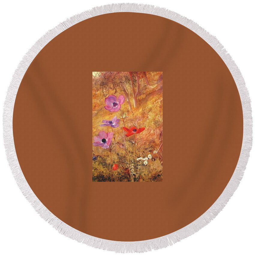 Five-spot Round Beach Towel featuring the digital art anemones 1876 Henry Roderick Newman by Eloisa Mannion