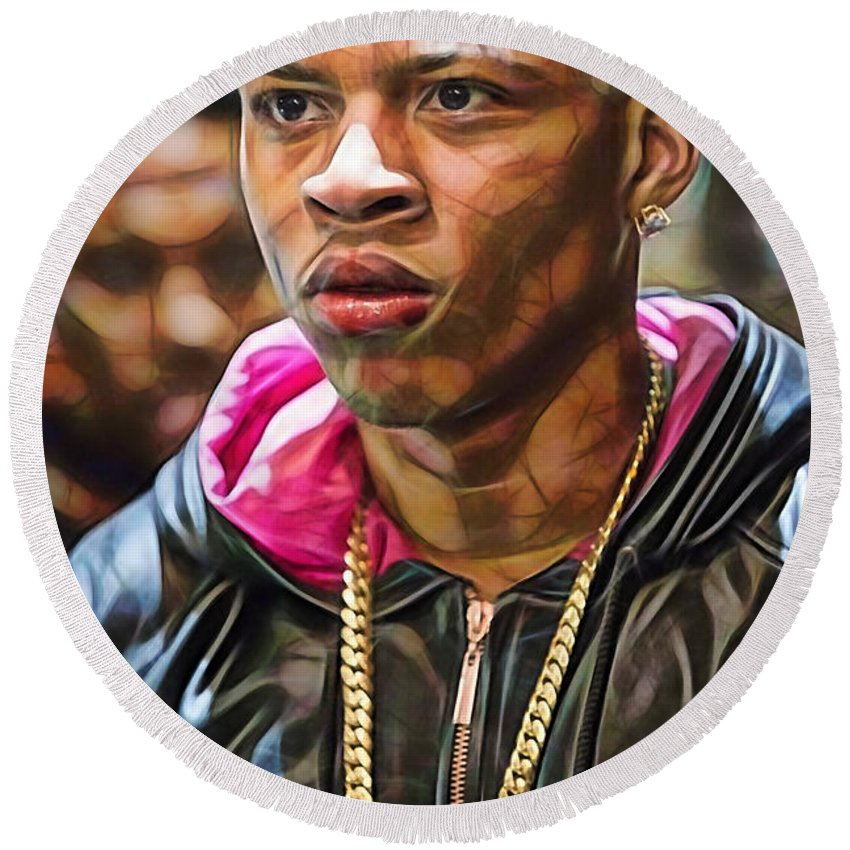 Bryshere Gray Round Beach Towel featuring the mixed media Empire's Bryshere Gray Hakeem by Marvin Blaine