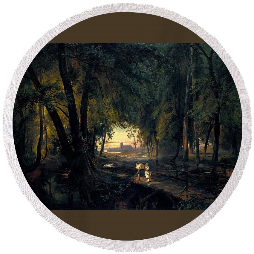 Forest Path Near Spandau By Carl Blechen Round Beach Towel featuring the painting Forest Path Near Spandau by Carl Blechen