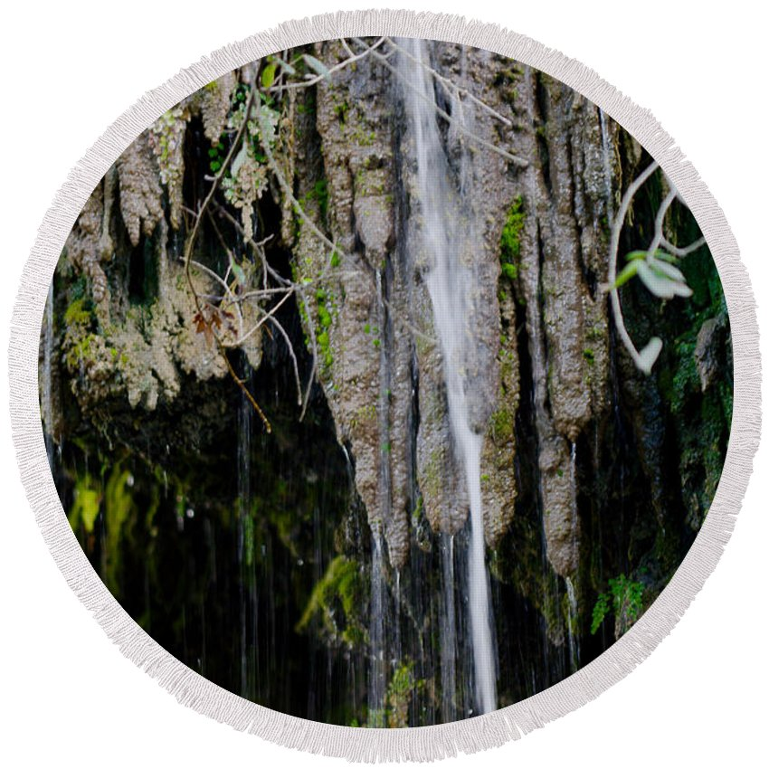 James Smullins Round Beach Towel featuring the photograph Gormon Falls Colorado Bend State Park. by James Smullins