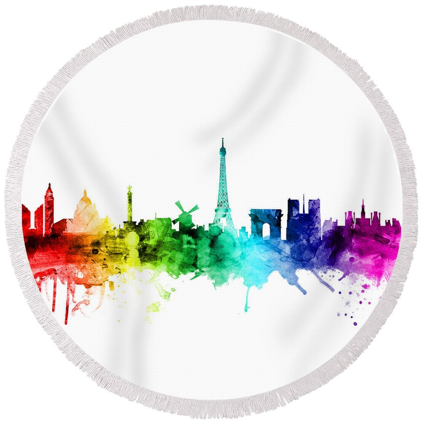 Paris Round Beach Towel featuring the digital art Paris France Skyline by Michael Tompsett