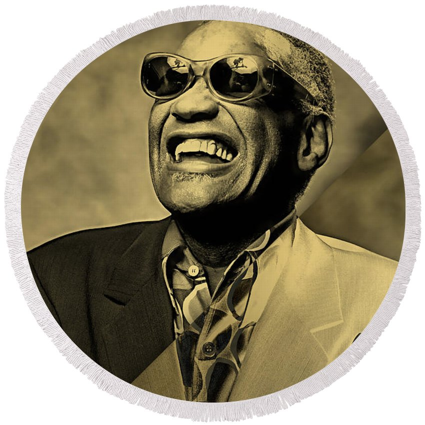 Ray Charles Round Beach Towel featuring the mixed media Ray Charles Collection by Marvin Blaine