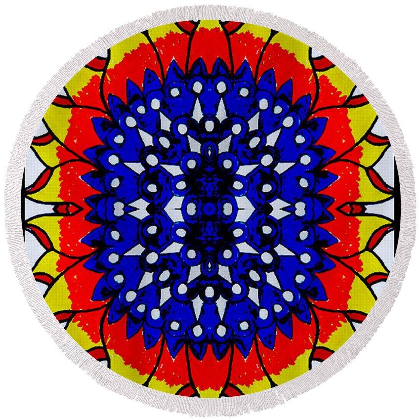 Round Beach Towel featuring the digital art Sunburst Flower by Graham Roberts