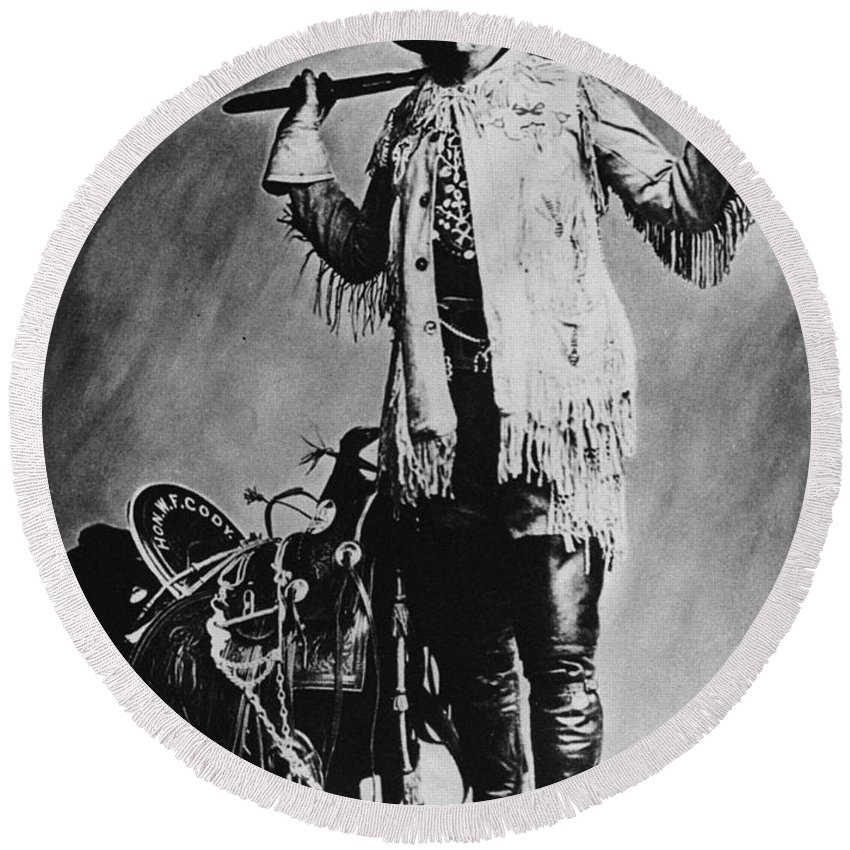 19th Century Round Beach Towel featuring the photograph William F. Cody (1846-1917) by Granger