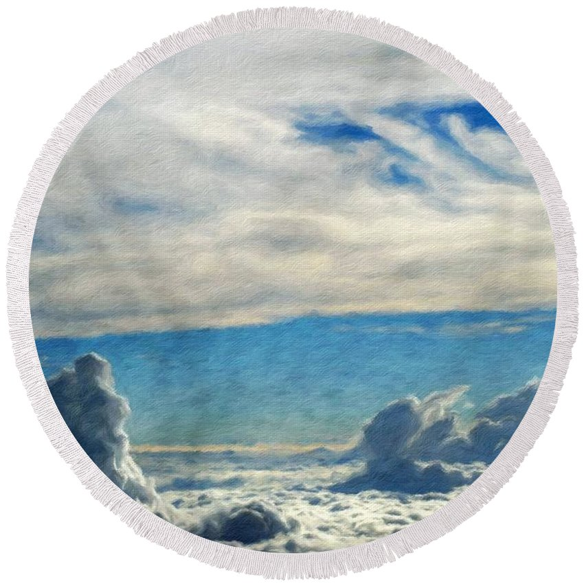 Landscape Round Beach Towel featuring the painting Nature Art Original Landscape Paintings by World Map