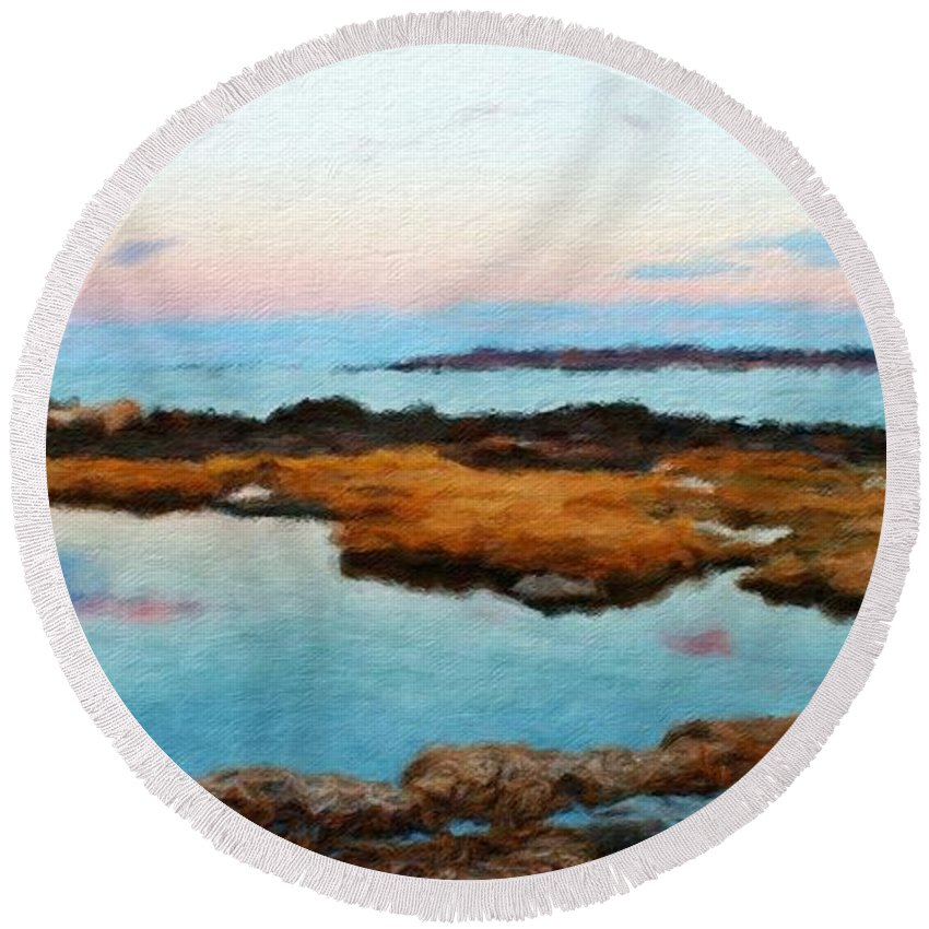 Landscape Round Beach Towel featuring the painting Landscape Definition Nature by World Map