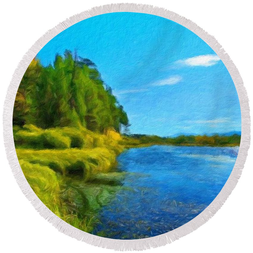 Landscape Round Beach Towel featuring the painting Nature Art Landscape Canvas Art Paintings Oil by World Map