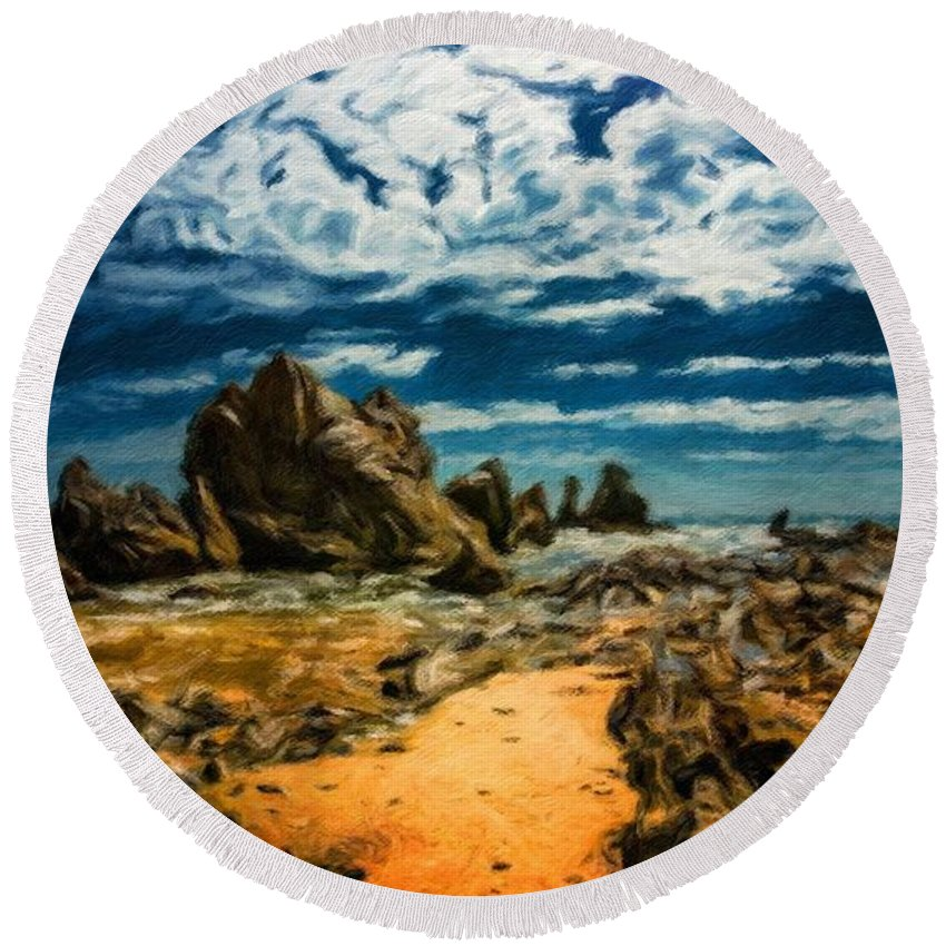Landscape Round Beach Towel featuring the painting Landscape Nature Scene by World Map
