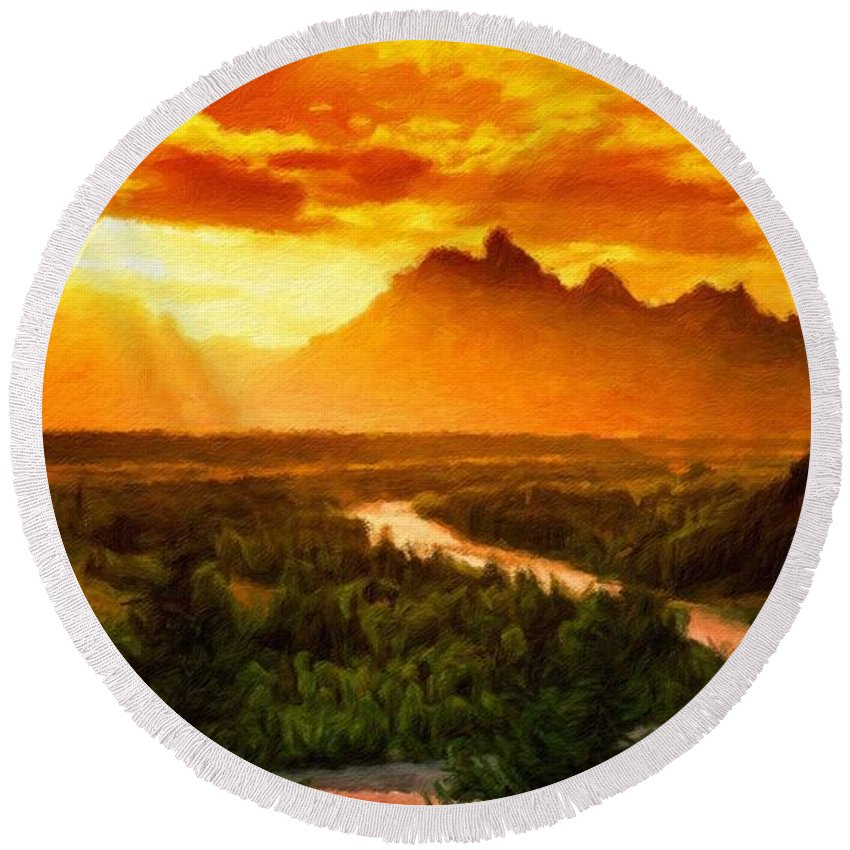 Landscape Round Beach Towel featuring the painting Nature Landscape Work by World Map
