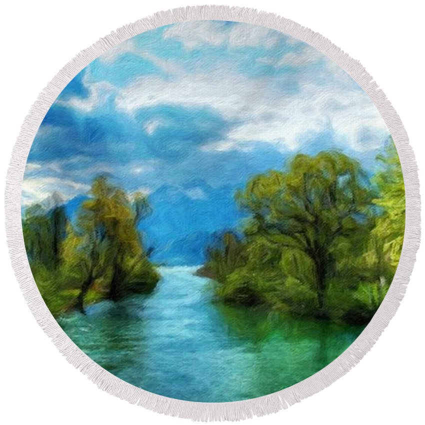 Landscape Round Beach Towel featuring the painting Nature New Landscape by World Map