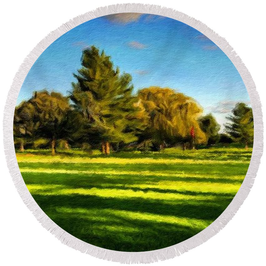 Landscape Round Beach Towel featuring the painting Nature Pictures Of Oil Paintings Landscape by World Map
