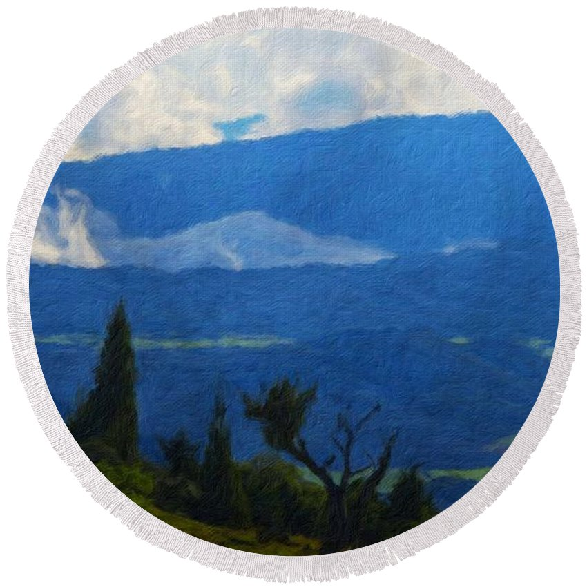 Landscape Round Beach Towel featuring the painting Landscape On Nature by World Map