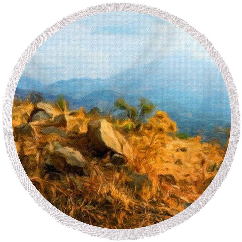 Landscape Round Beach Towel featuring the painting Nature Landscape Graphics by World Map