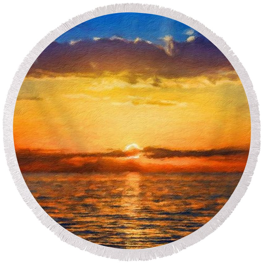 Landscape Round Beach Towel featuring the painting Nature Landscape Artwork by World Map
