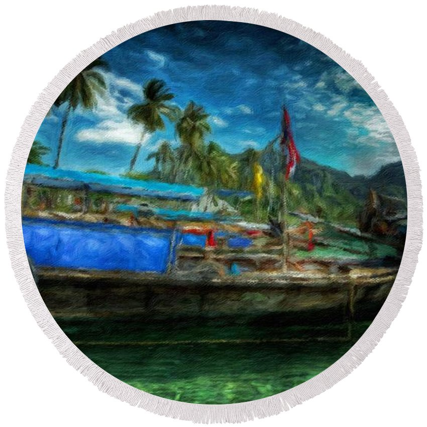 Landscape Round Beach Towel featuring the painting Nature Landscape Oil Painting by World Map