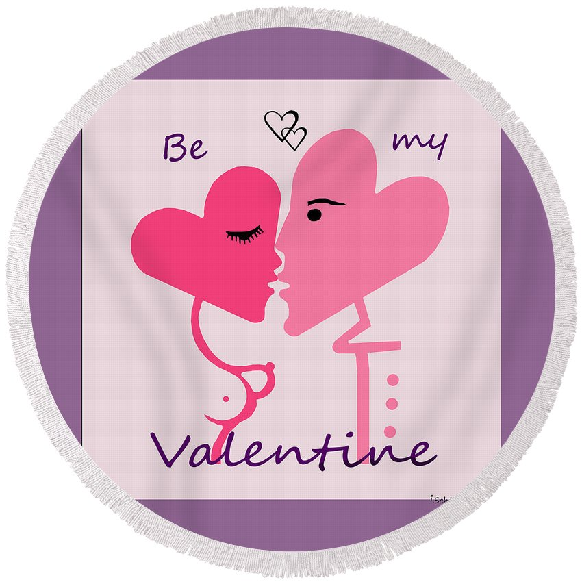 1198 Be My Valentine V Round Beach Towel featuring the painting 1198 Be My Valentine V by Irmgard Schoendorf Welch