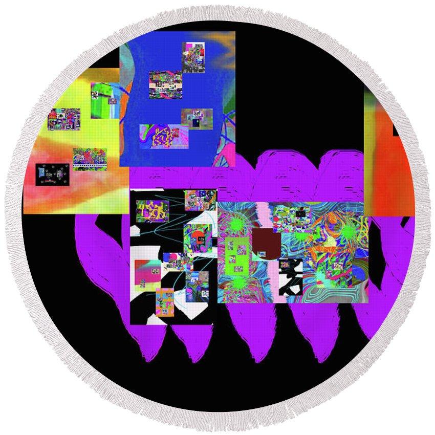 Walter Paul Bebirian Round Beach Towel featuring the digital art 12-26-2016f by Walter Paul Bebirian