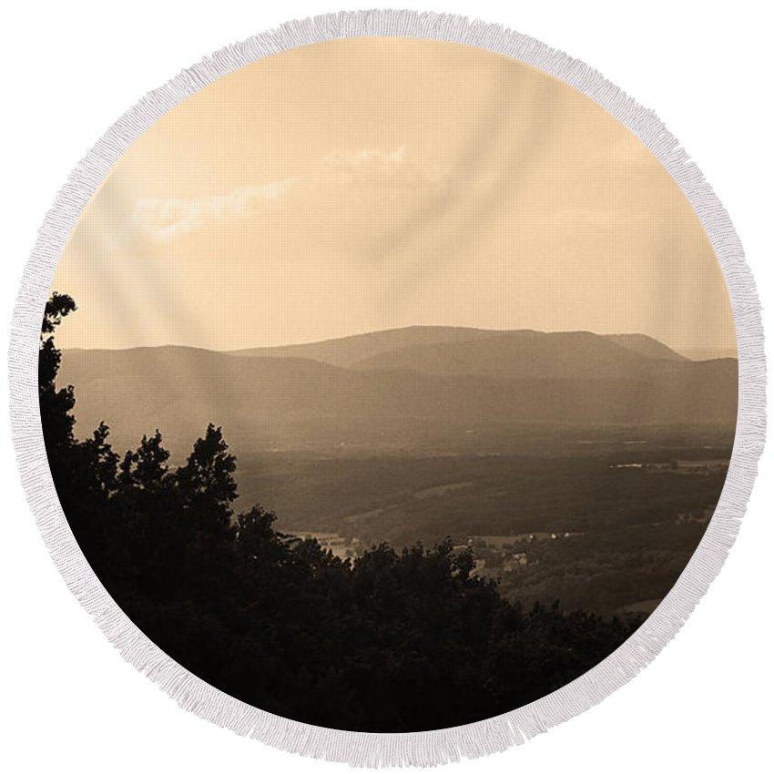 America Round Beach Towel featuring the photograph Blue Ridge Mountains Virginia by Frank Romeo