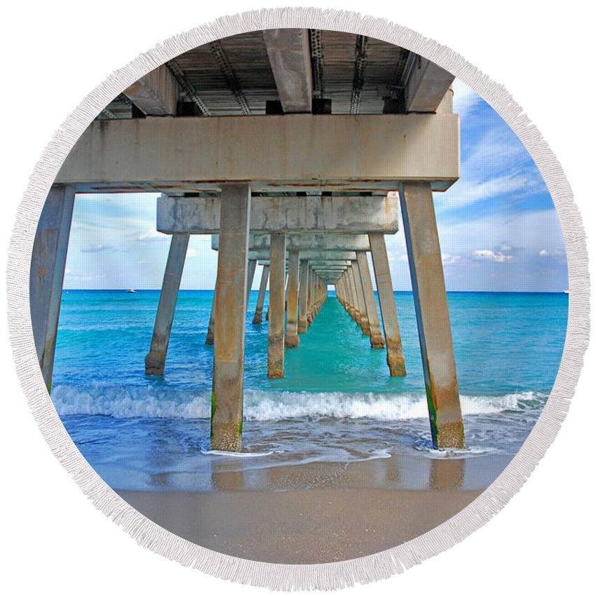 Juno Pier Round Beach Towel featuring the photograph 12- Juno Pier by Joseph Keane