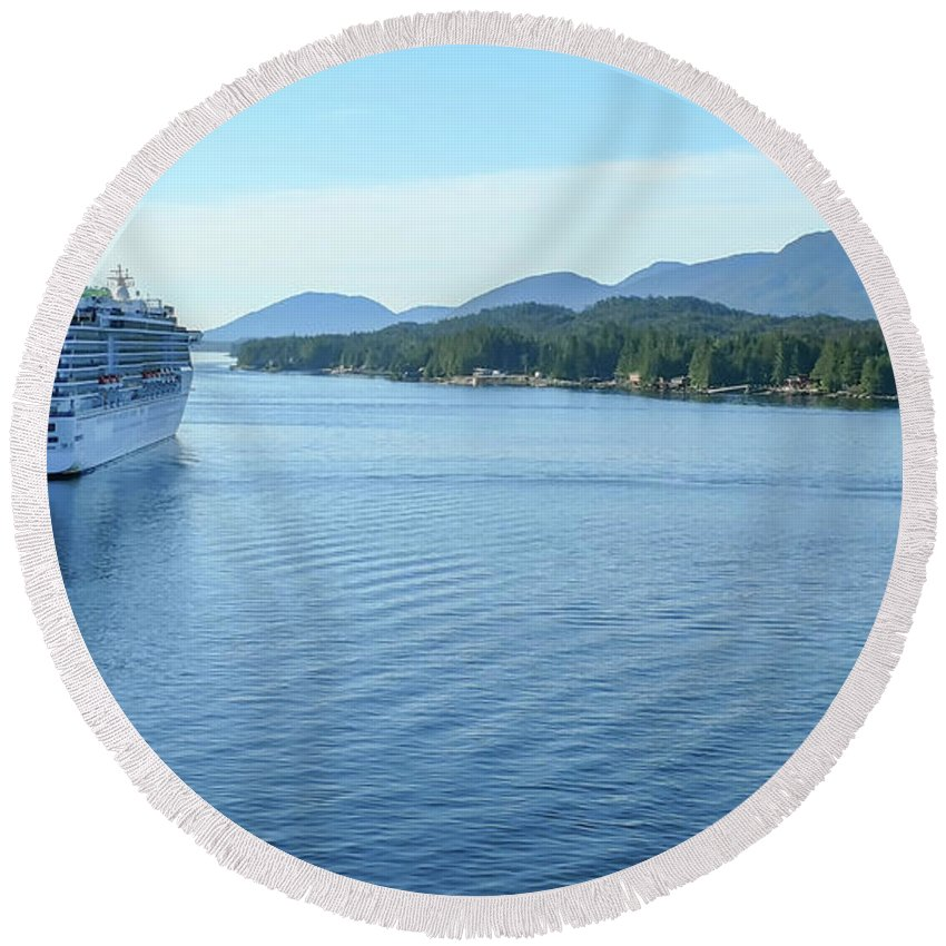 Downtown Round Beach Towel featuring the photograph ketchikan alaska downtown of a northern USA town by Alex Grichenko