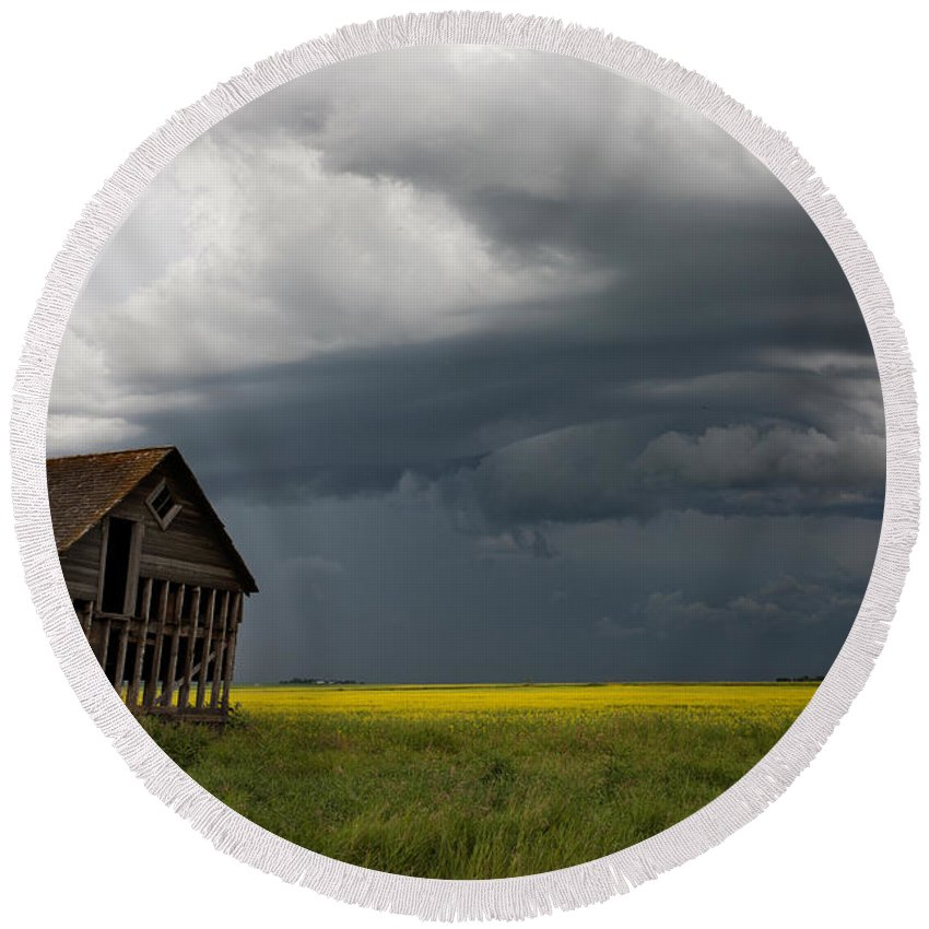 Landscape Round Beach Towel featuring the photograph Storm Clouds Prairie Sky by Mark Duffy