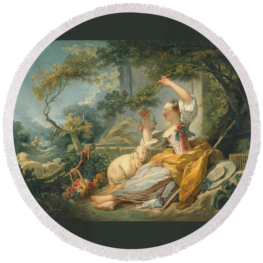 Ean‑honoré Fragonard (french Round Beach Towel featuring the painting The Shepherdess by MotionAge Designs