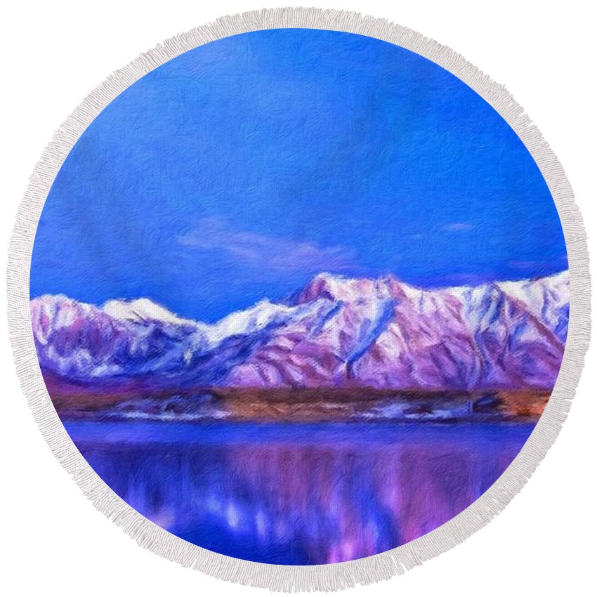 Landscape Round Beach Towel featuring the painting Nature Landscape Art by World Map