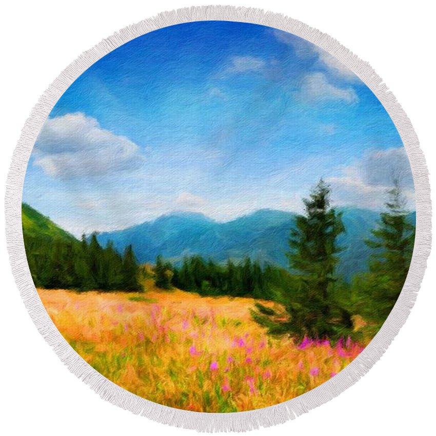 Landscape Round Beach Towel featuring the painting Oil Painting Landscape Pictures Nature by World Map