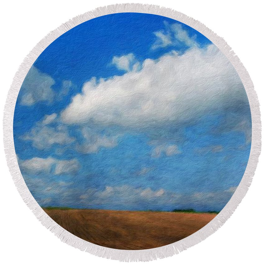 Landscape Round Beach Towel featuring the painting Nature Oil Painting Landscape Images by World Map