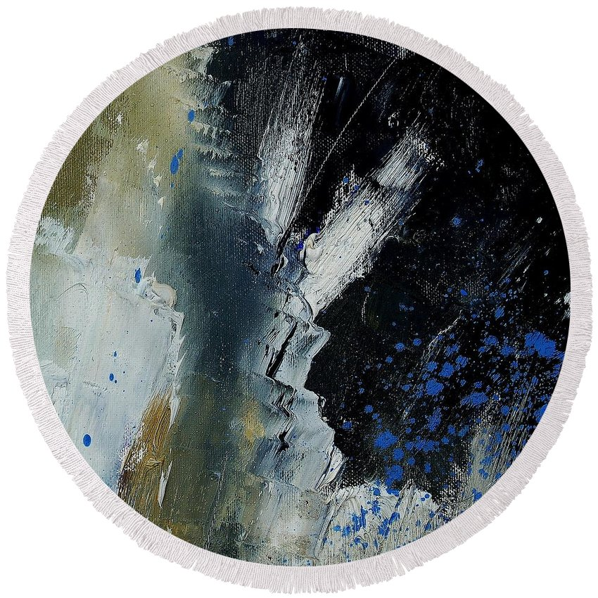 Abstract Round Beach Towel featuring the painting 1237 by Pol Ledent