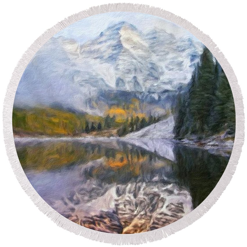 Landscape Round Beach Towel featuring the painting A Landscape Nature by World Map