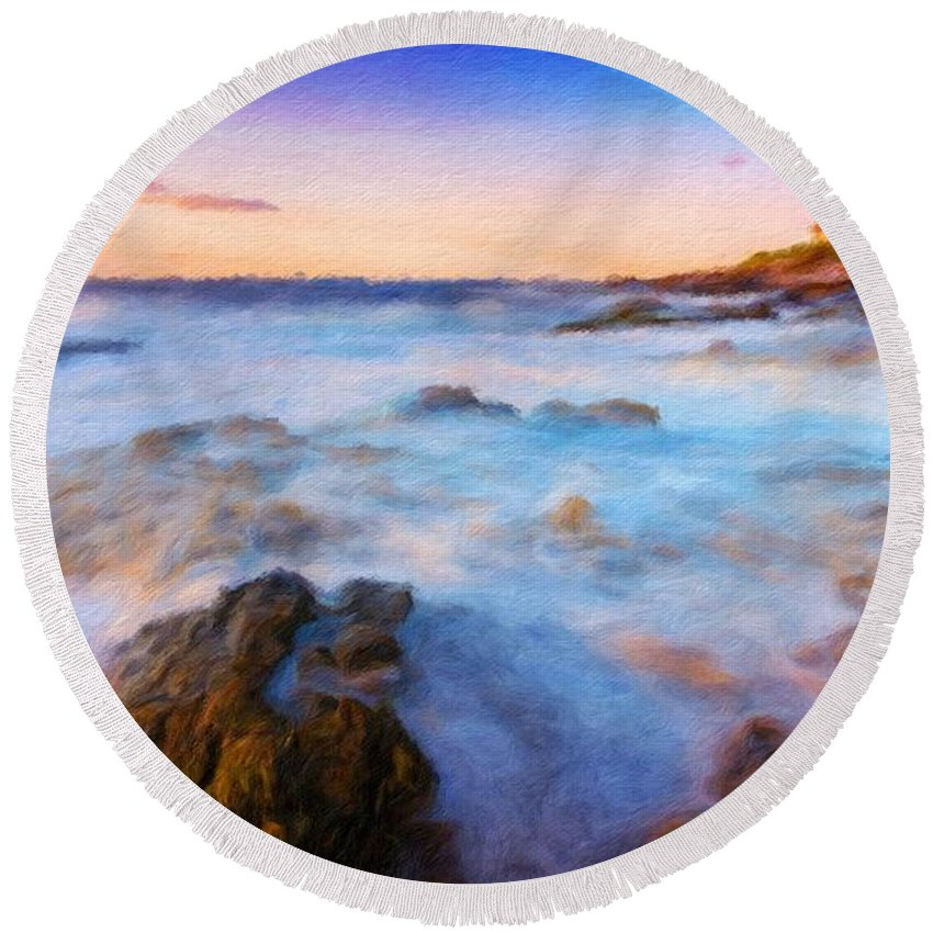 Landscape Round Beach Towel featuring the painting Painting Landscape by World Map