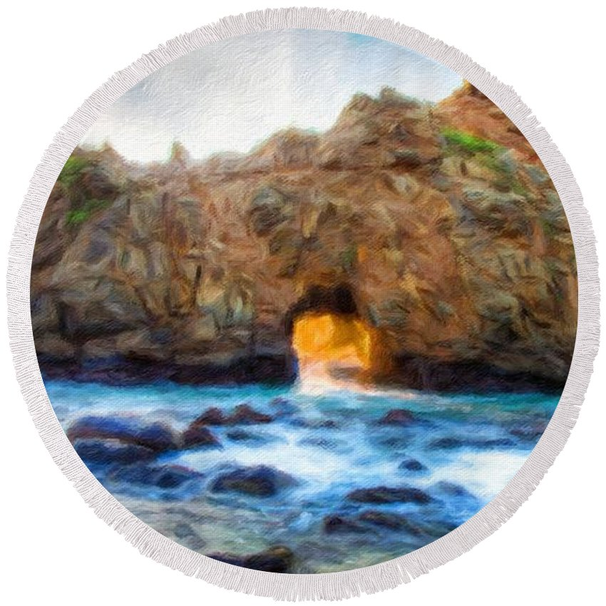 Landscape Round Beach Towel featuring the painting Types Of Landscape Nature by World Map