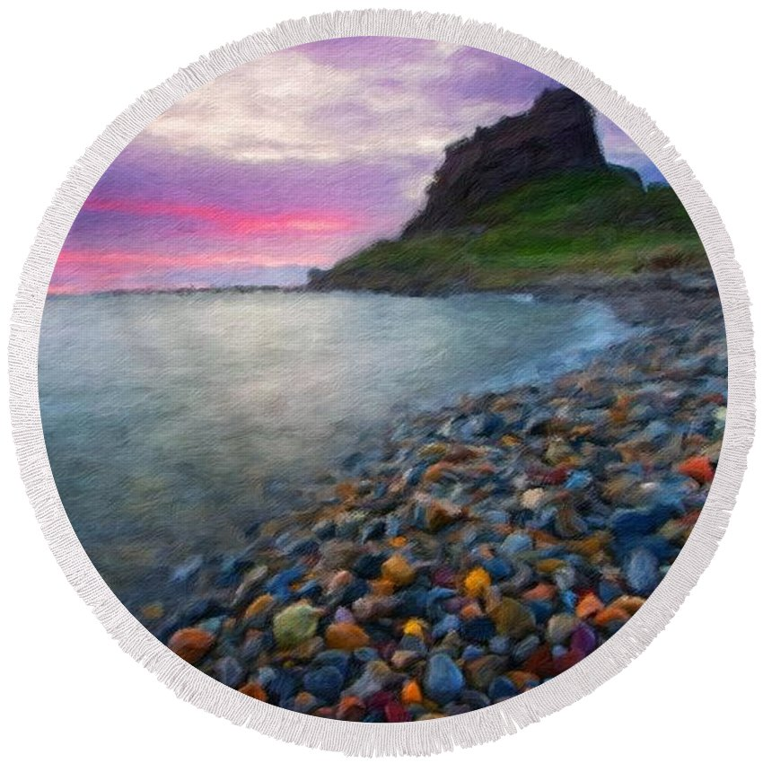 Landscape Round Beach Towel featuring the painting Landscape Paintings Nature by World Map