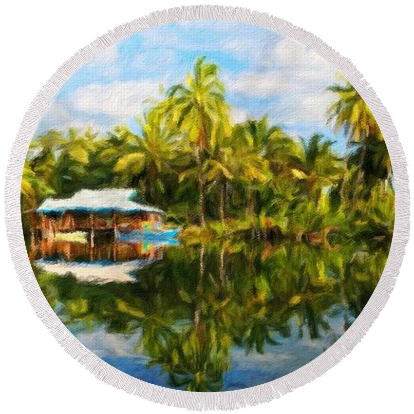 Landscape Round Beach Towel featuring the painting Landscape Nature Pictures by World Map