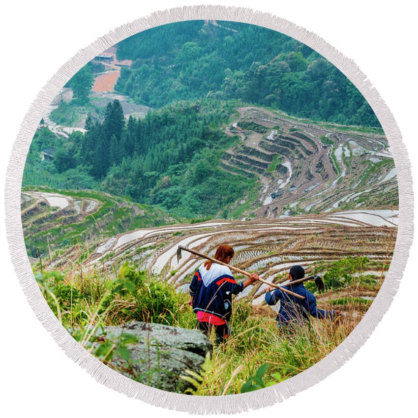 Terrace Round Beach Towel featuring the photograph Longji terraced fields scenery by Carl Ning